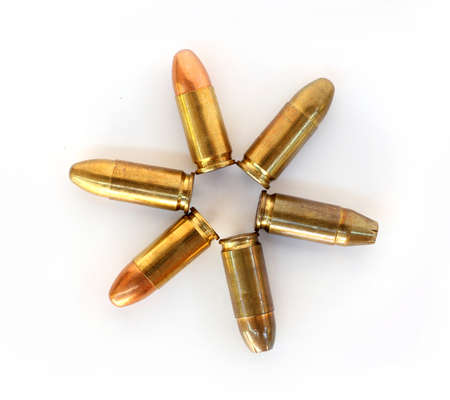 five objects: several bullets on white backgrounds