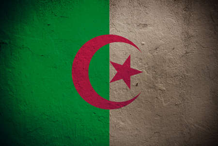 flag of Algeria painted on grunge wall photo
