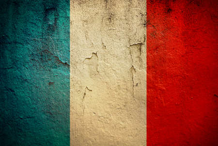 france painted: The French flag painted on grunge wall