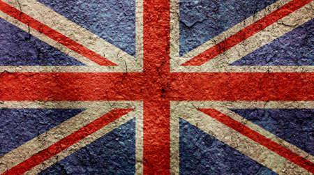 signo de paz: Bandera de Reino Unido Reino Unido en el muro de cemento del grunge