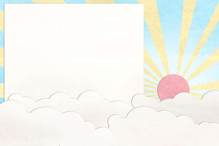 craft background: sky and cloud recycled  paper craft background Stock Photo