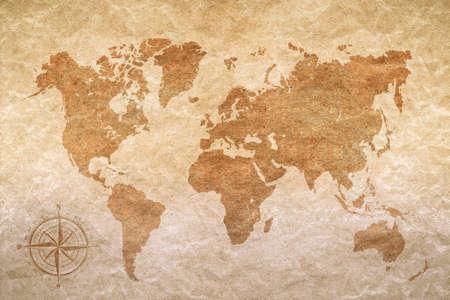 世界地図とビンテージの紙