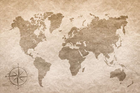 vintage world map: vintage paper  with world map