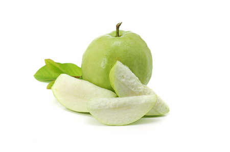 close up of green and fresh Guava on white background