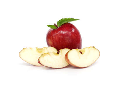 Red apple sliced. Isolated on white background.