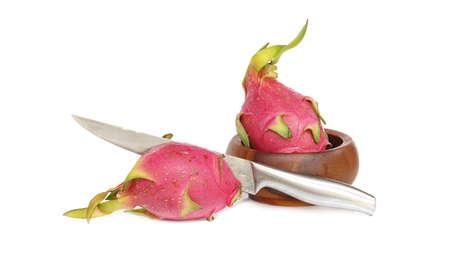 Fresh pink dragon fruit slice ready to eat. Фото со стока