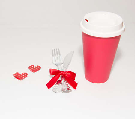 Valentine theme with red cup and hearts Banco de Imagens