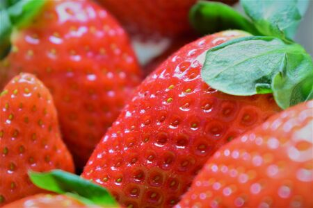 Strawberry macro stacked, deep red