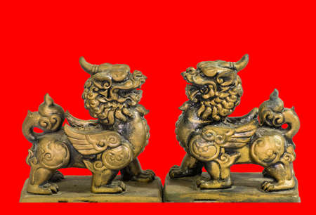 talisman: Chinese talisman figurine red background Stock Photo
