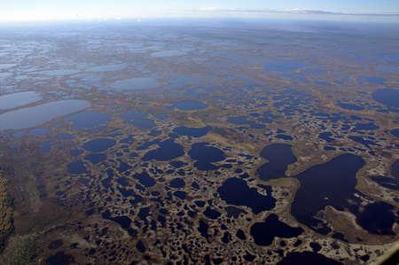 birdseye: West Siberia it is oil region. The flight a birds-eye view