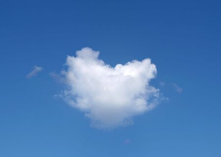 The White little cloud-heart in the blue sky.