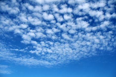 The White little clouds close the blue sky.