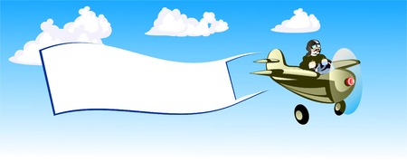 advertisment: The small airplane flies in the sky. The Airplane convey lined paper with advertisment. There is white clouds in the sky behind the airplane.