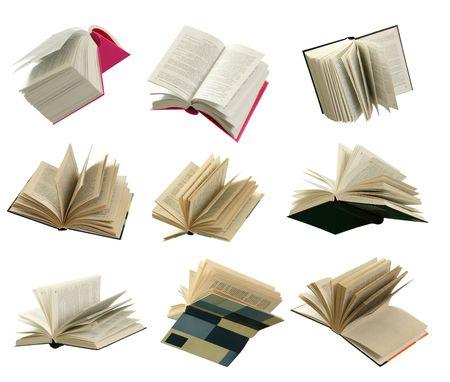 Negen boeken geopend op witte achtergrond.