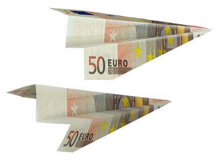 The Money bill by value in fifty euro presented in the manner of paper airplane. Stock Photo