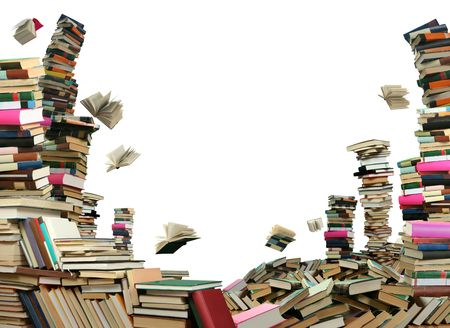 This is books scramble. Many books on white background.