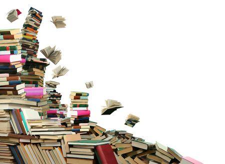 Dit is boeken scramble. Veel boeken te verspreiden onder hemel. Stockfoto