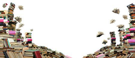 Dit is de boeken scramble. Veel boeken op witte achtergrond. Stockfoto