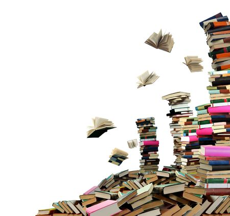 This is books scramble. Many books on white background. Stock Photo - 5601426