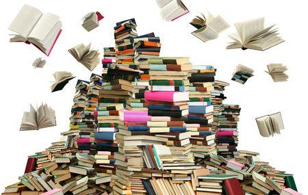 Dit is de boeken scramble. Veel boeken op witte achtergrond.