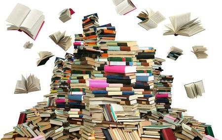 scatters: This is books scramble. Many books on white background.