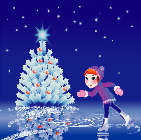 The Girl goes on skates beside new years fir tree. Illustration