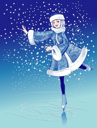 Het meisje in bont pak op ijs baan in de winter.  Stock Illustratie