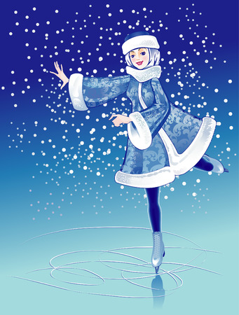rink: The Girl in fur suit on skating rink in winter. Illustration