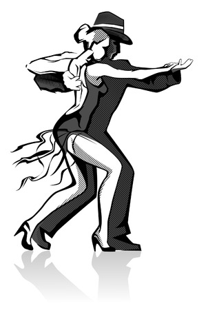 The Man and woman dance the tango.