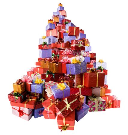 Mountain of colorful gift boxes on white background.