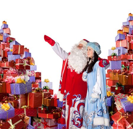Santa Claus and his helper to placed a ad of holiday. Stock Photo - 11569643