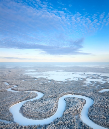 overhand: Aerial view of forest river in time of winter day  Stock Photo