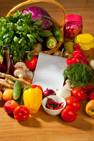 vegetable cook: This is a notebook of paper on a background of fresh vegetables. This recipe is delicious and healthy dishes.