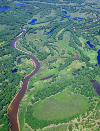 Aerial view of forest river over the summer woodlands during a flight.