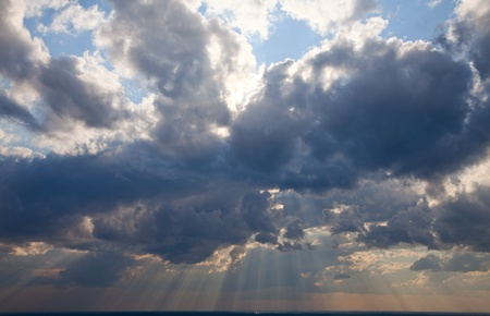Beautiful dramatic sky with sun rays  Blue Heavens Idyllic Wallpaper Broad Daylight  photo