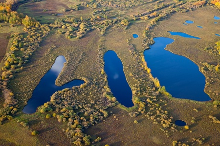 mere: Aerial view of the three lakes in calm weather in the autumn