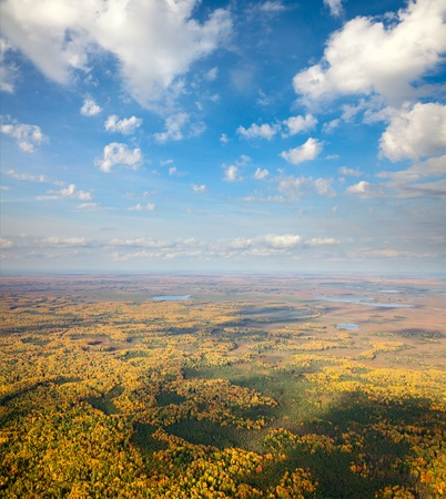 horizon over land: Aerial view the forest of plain under white clouds in autumn. Stock Photo