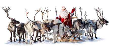 Santa Claus are near his deer in harness on the white background. He welcomes you and is waving his hand. photo