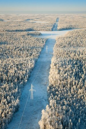 Aerial view of the winter forest and electricity line Stock Photo - 17440507