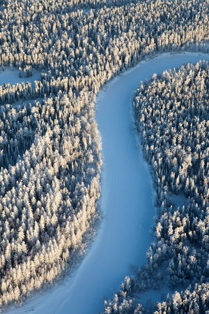 Aerial view of forest river in time of winter day Stock Photo - 17440520