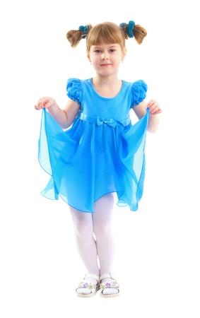 Girls dressed in blue  She is fun  photo