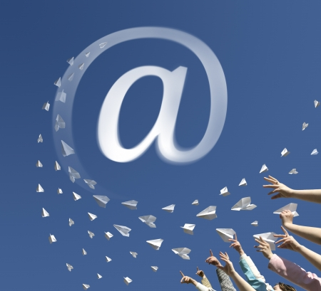 upwards: The hands of children throw upwards messages in the manner of paper airplanes. Airplanes converted to an symbol of email address.