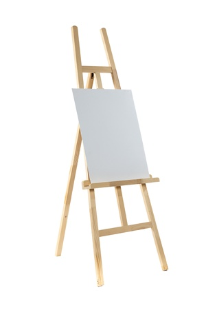 Clean canvas on a wooden easel isolated on a white background   Stock Photo
