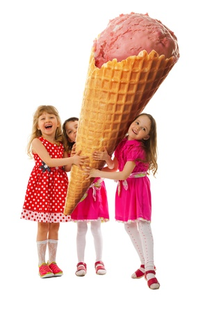 Three little girl rejoice the very big ice cream which they hold in their hands.