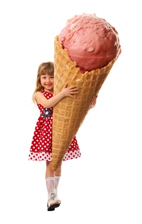 huge: Little girl rejoice the very big ice cream which they hold in her hands. On white background.