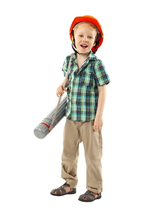 inspector kid: Portrait of little boy with hard hat on white background