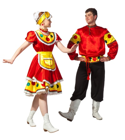 national costume: Girl and guy dance in national russian dresses on white background.