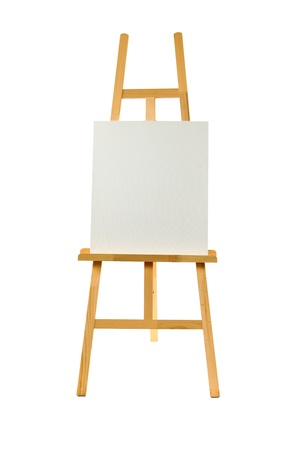 Clean canvas on a wooden easel isolated on a white background. Reklamní fotografie - 20780954