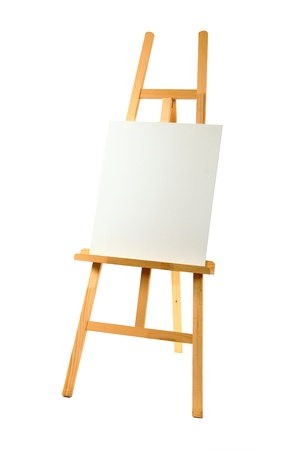 artist painting: Clean canvas on a wooden easel isolated on a white background.  Stock Photo