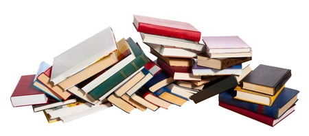 literacy: Pile of books on white background. Stock Photo